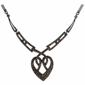 Art Deco Sterling Silver Pave Marcasite Heart Neck